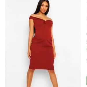 Boohoo Maternity Dress Red Off the shoulder